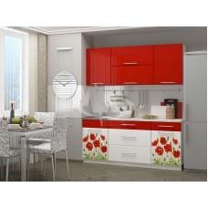 Кухня Маки красные МДФ 1.8