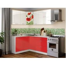 Угловая кухня с фотопечатью Маки